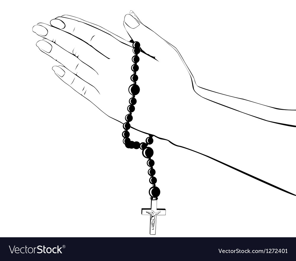 Hands with a rosary vector | Price: 1 Credit (USD $1)