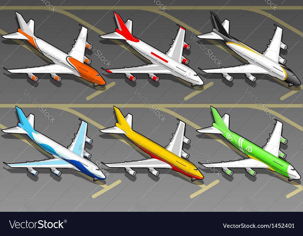Isometric airplanes in six livery in front view vector | Price: 1 Credit (USD $1)