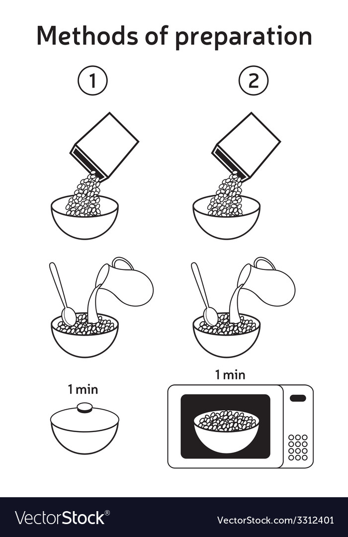 Methods of preparing oatmeal muesli corn flakes vector | Price: 1 Credit (USD $1)