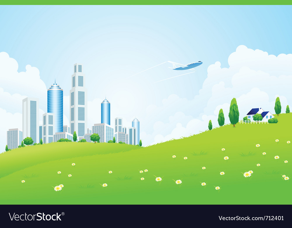 Park and city vector | Price: 3 Credit (USD $3)