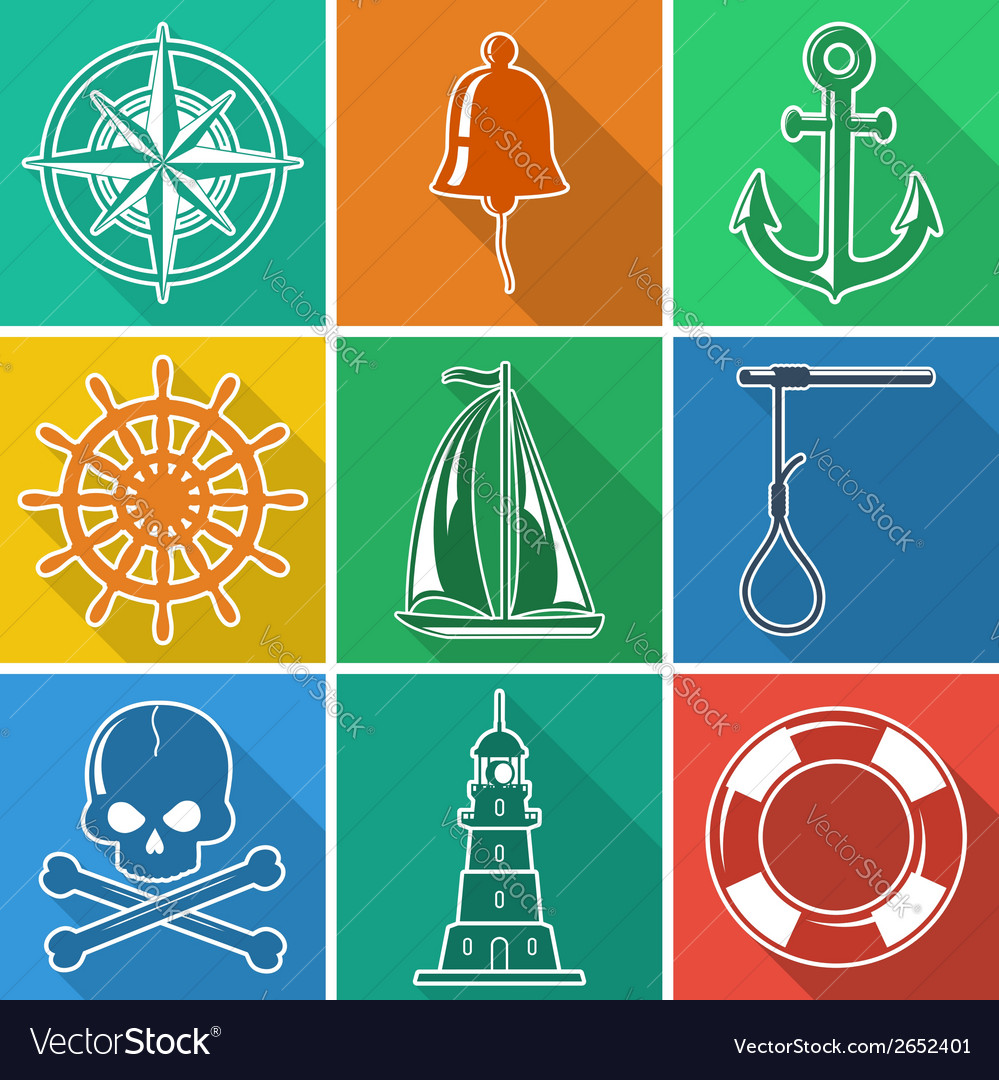 Set of flan nautical icons vector | Price: 1 Credit (USD $1)