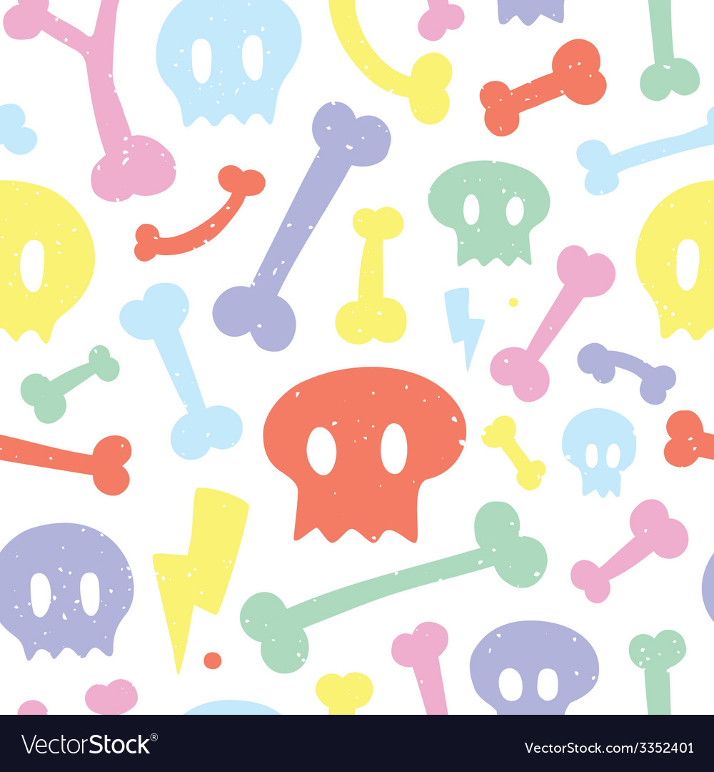 Skulls and bones white pattern vector | Price: 1 Credit (USD $1)