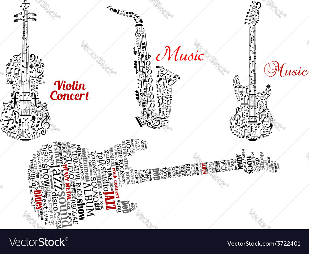 Word clouds and notes in shape of guitars violin vector | Price: 1 Credit (USD $1)