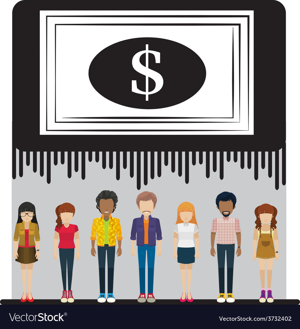 A big dollar check above the group of people vector | Price: 1 Credit (USD $1)