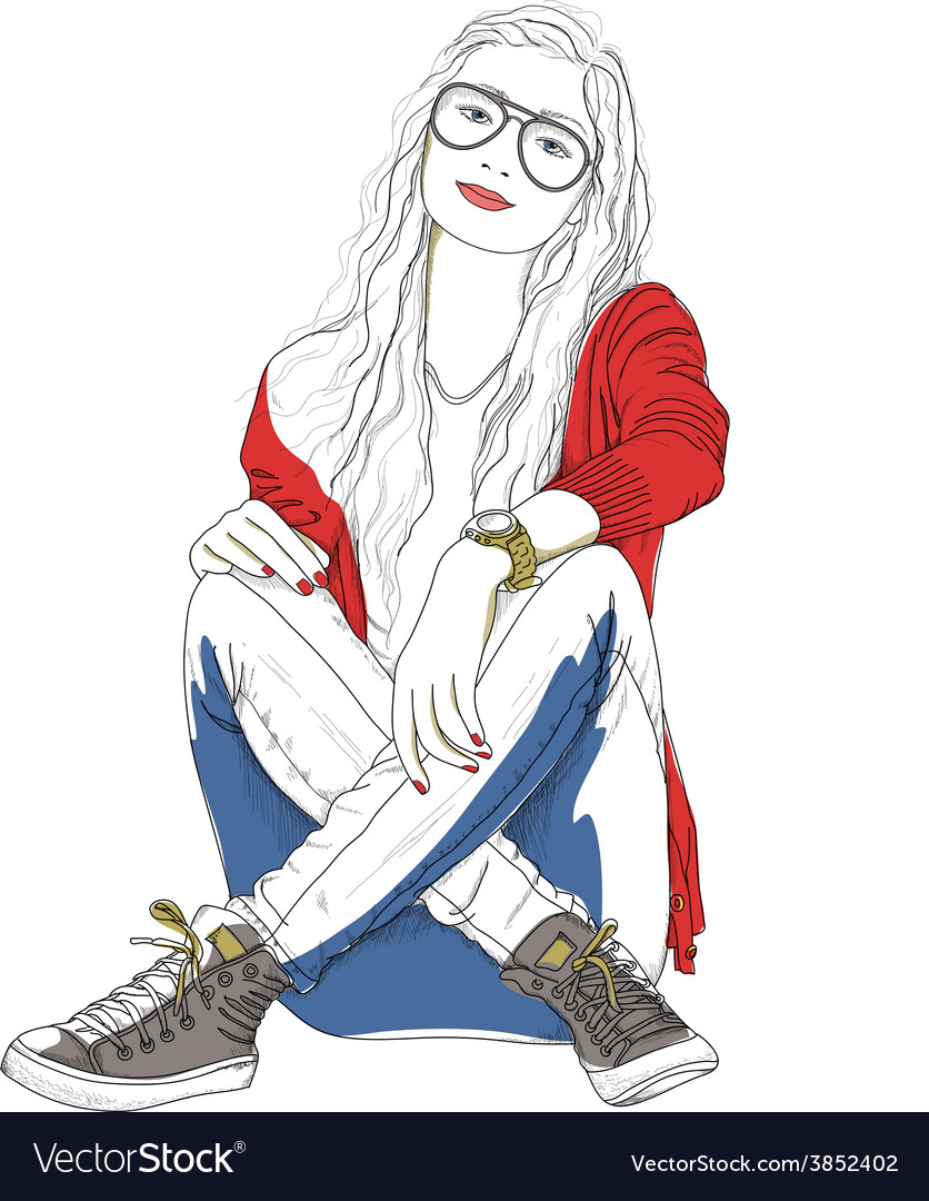 A young woman in glasses sitting on the ground vector | Price: 1 Credit (USD $1)