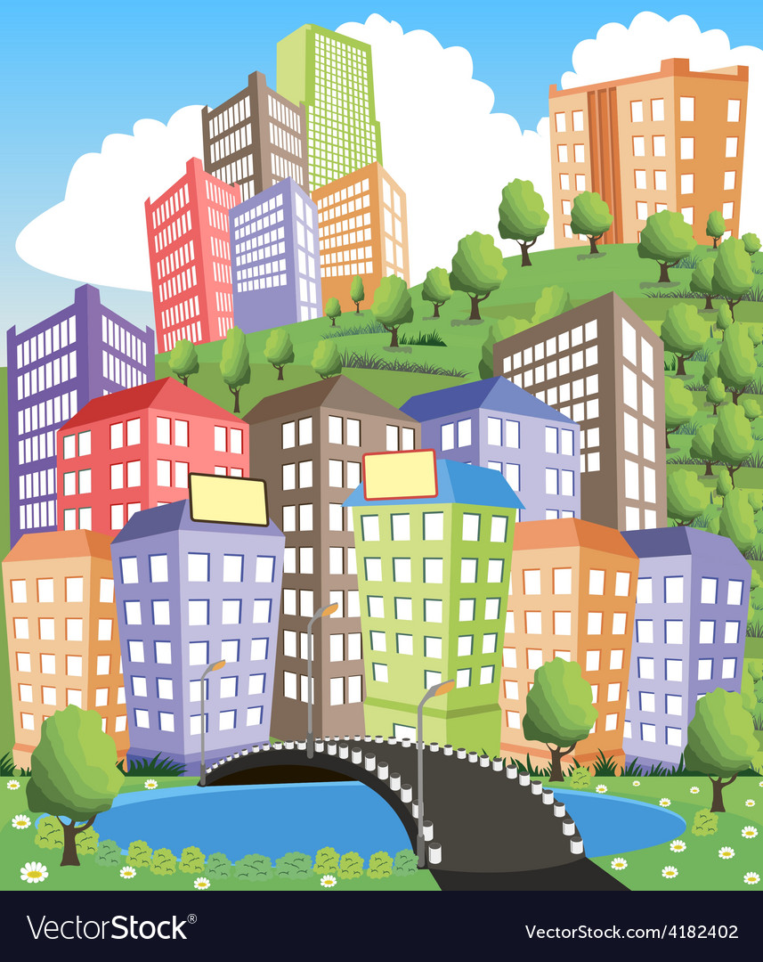 City view vector | Price: 3 Credit (USD $3)