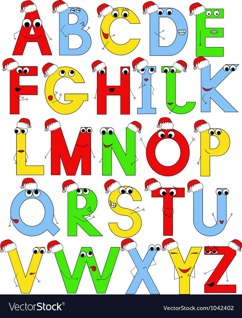 Funny latin alphabet in santa caps vector | Price: 1 Credit (USD $1)