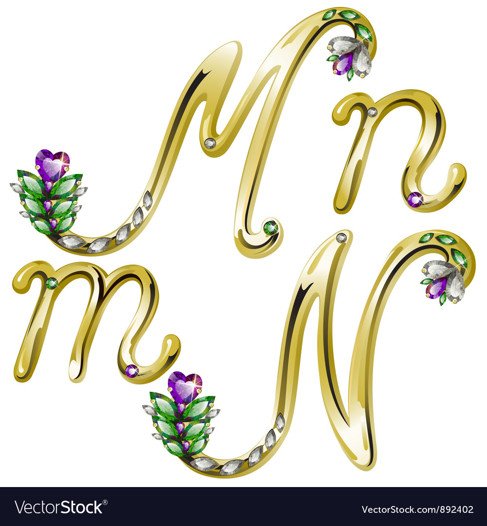 Gold alphabet with diamonds and gems letters m n vector | Price: 1 Credit (USD $1)
