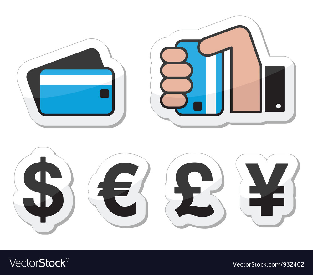 Hand holding credit card label vector | Price: 1 Credit (USD $1)