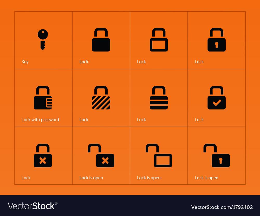 Locks icons on orange background vector | Price: 1 Credit (USD $1)