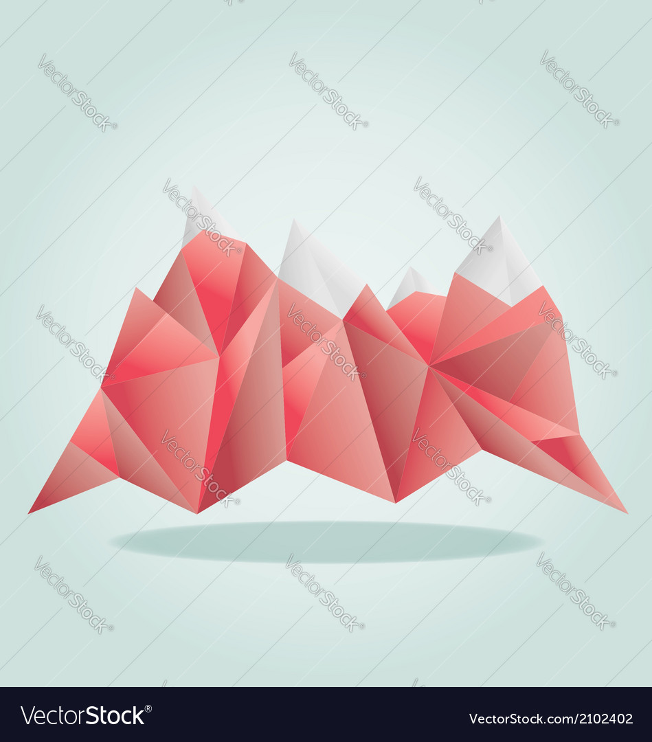 Red mounatain poly vector | Price: 1 Credit (USD $1)
