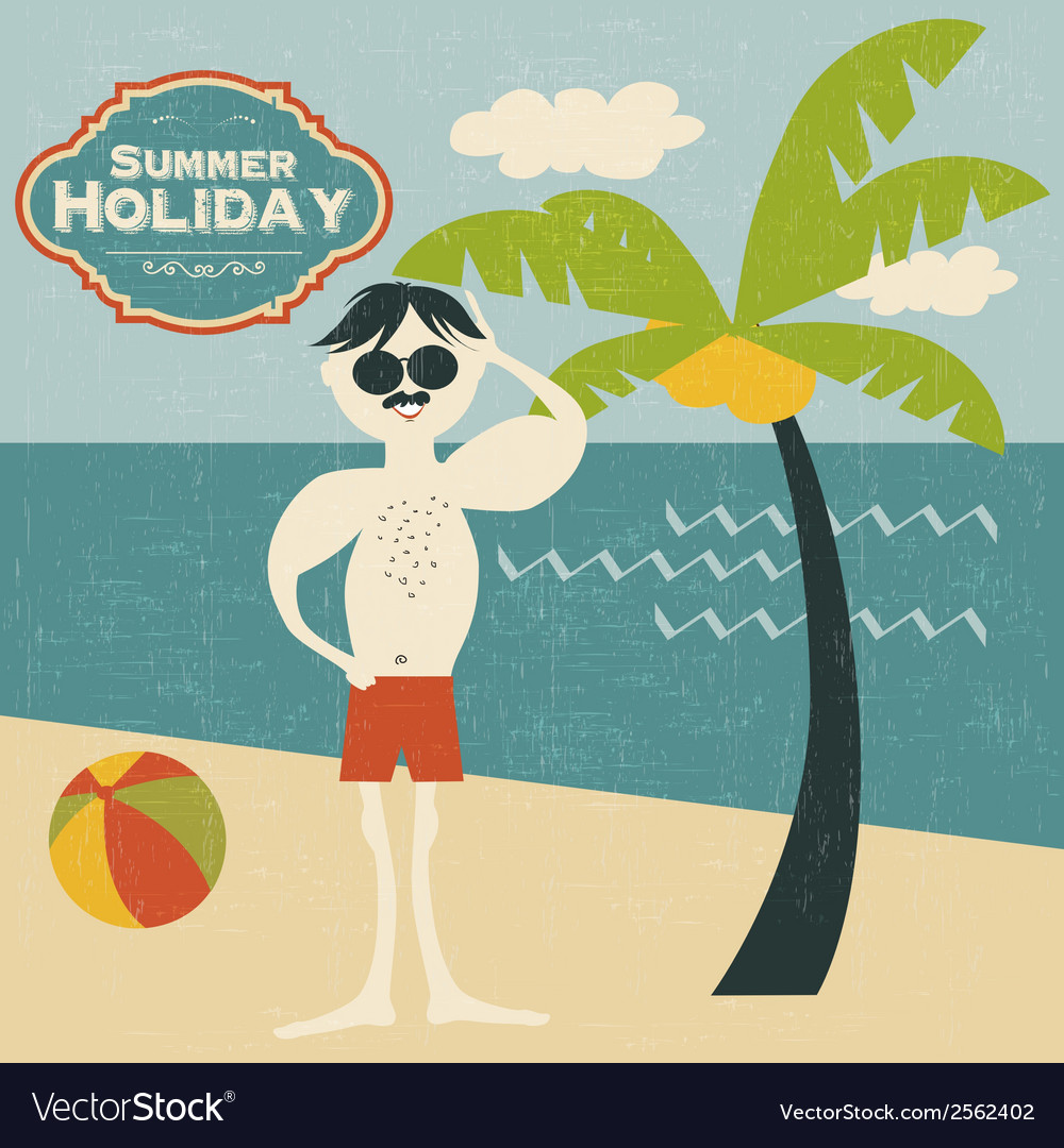 Retro man on the beach vector | Price: 1 Credit (USD $1)
