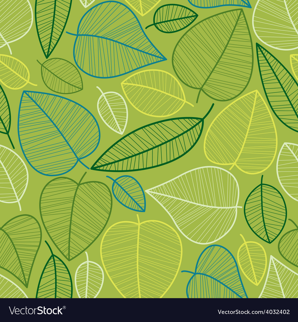 Spring leaves seamless pattern vector | Price: 1 Credit (USD $1)