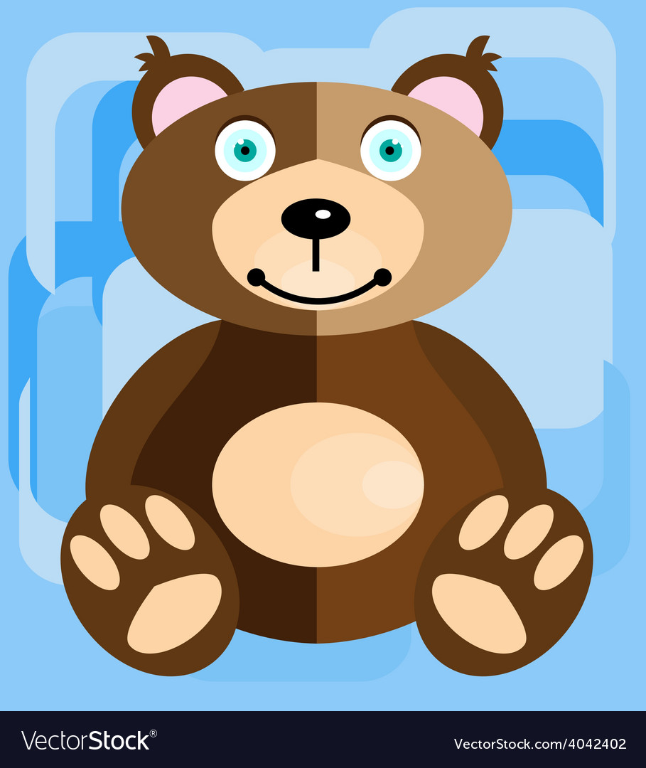 Teddy bear on a blue background vector | Price: 1 Credit (USD $1)