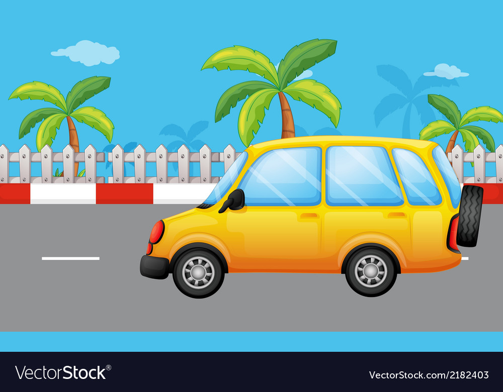 A yellow van at the road vector | Price: 1 Credit (USD $1)