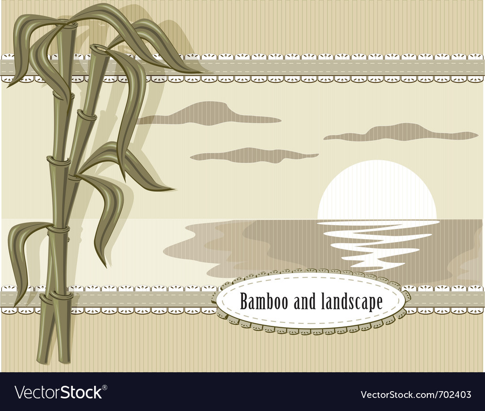 Bamboo and landscape vector | Price: 1 Credit (USD $1)
