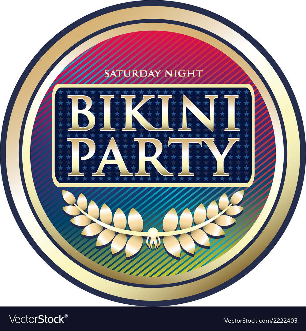 Bikini party exotic label vector | Price: 1 Credit (USD $1)