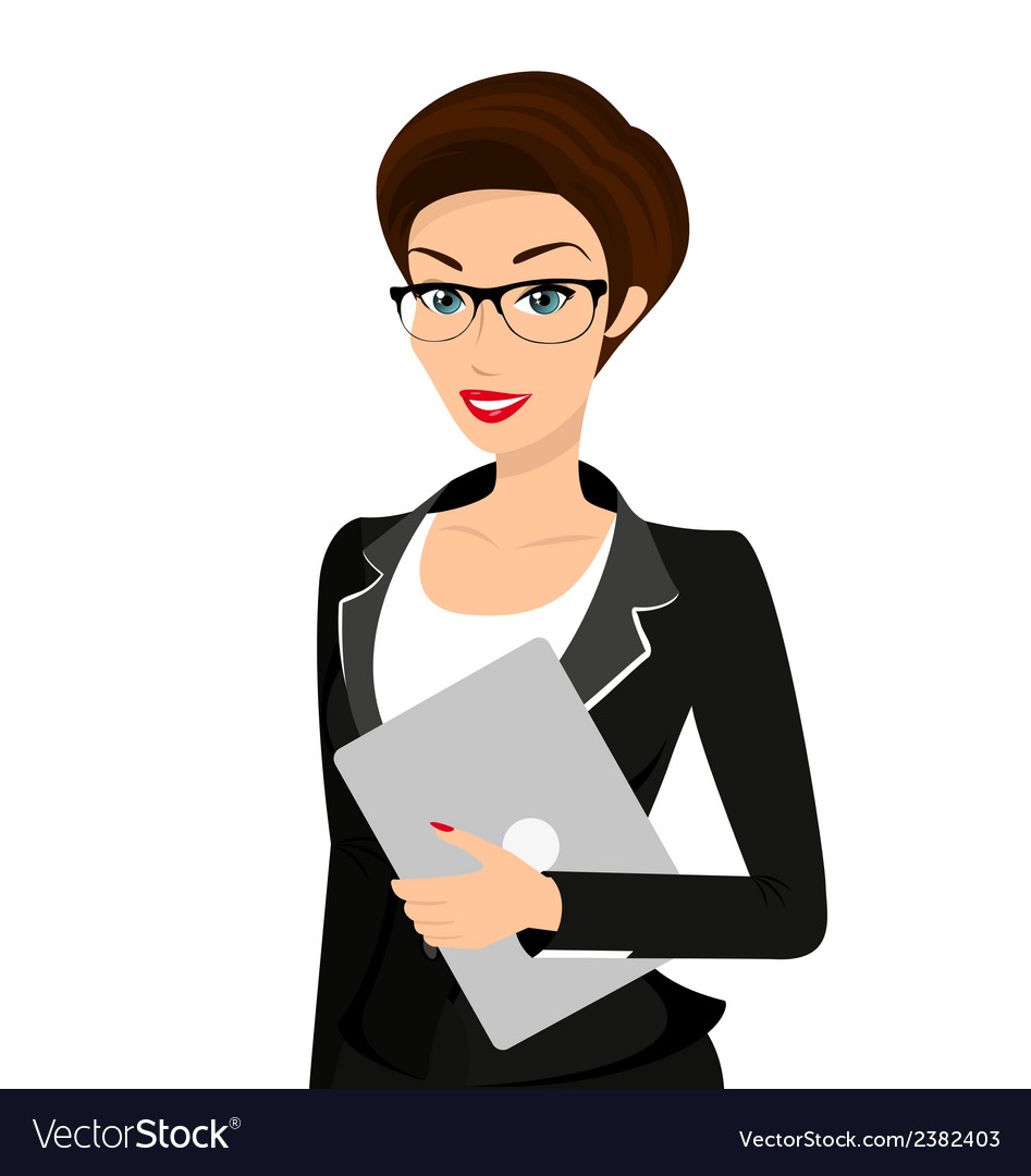 Business woman is wearing black suit isolated on vector | Price: 1 Credit (USD $1)