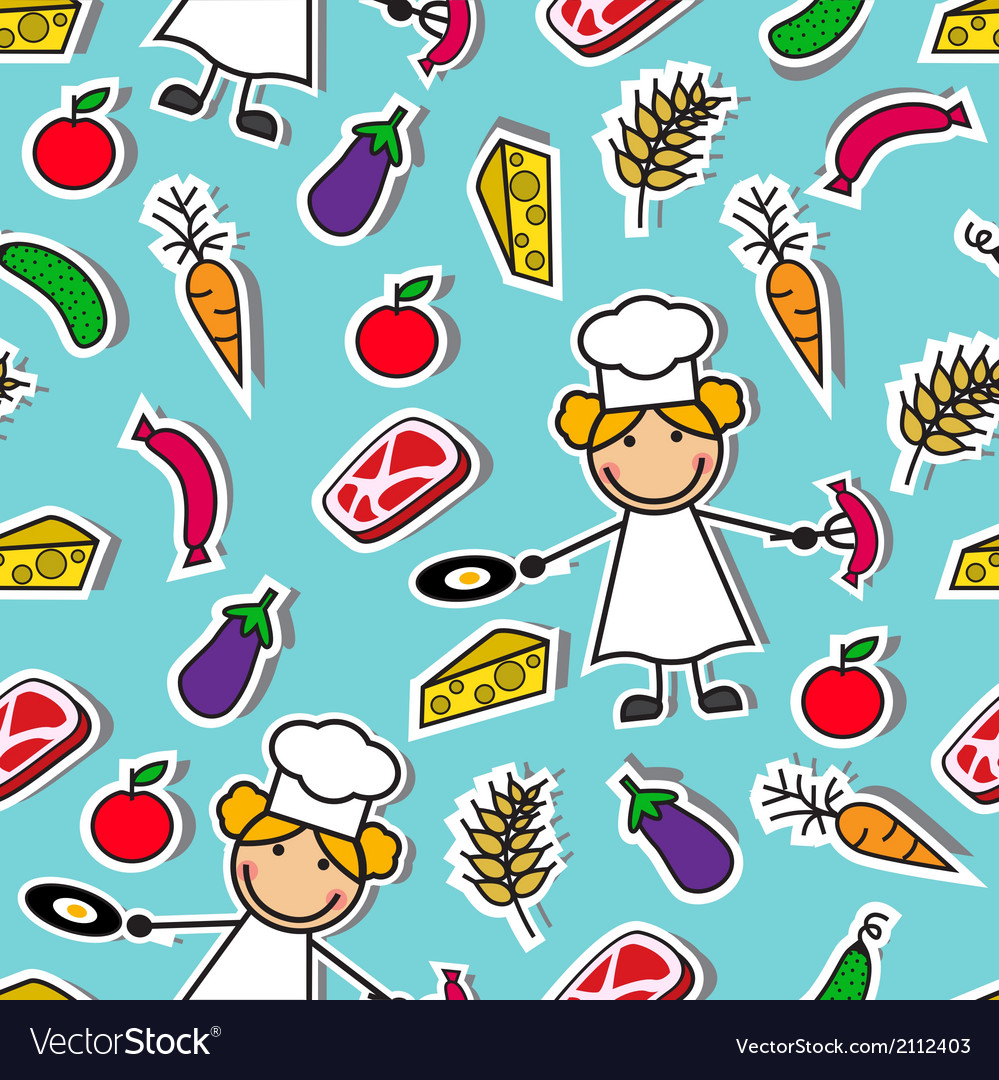Cartoon seamless pattern with chef and food vector | Price: 1 Credit (USD $1)