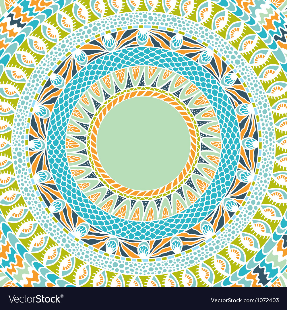 Colorful ethnicity round ornament mosaic vector | Price: 1 Credit (USD $1)