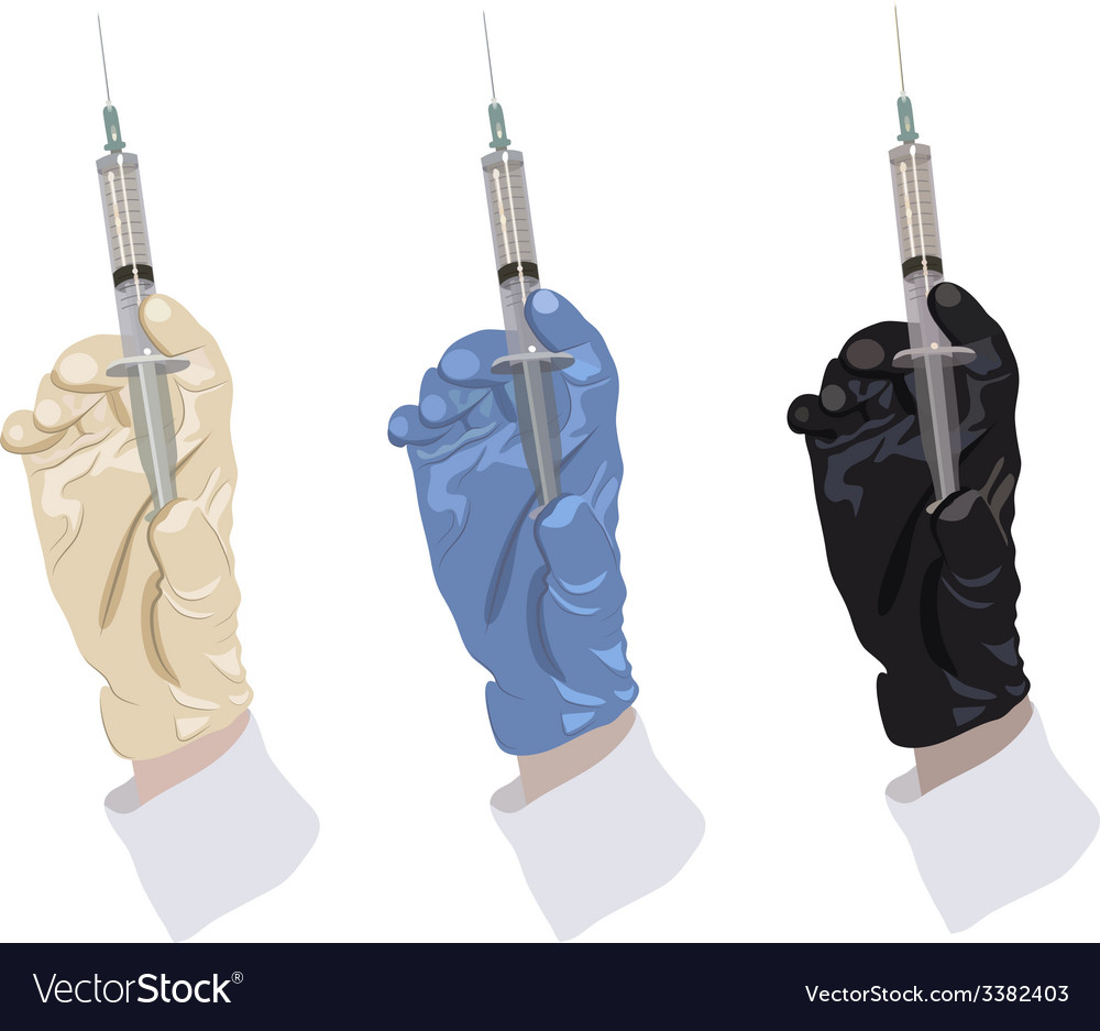 Hand in glove holding the syringe vector | Price: 1 Credit (USD $1)