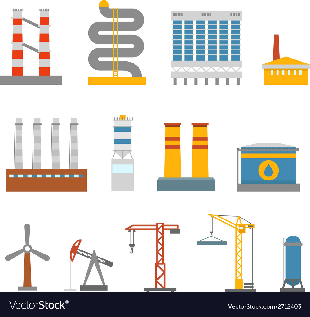 Modern factory buildings collection vector | Price: 1 Credit (USD $1)