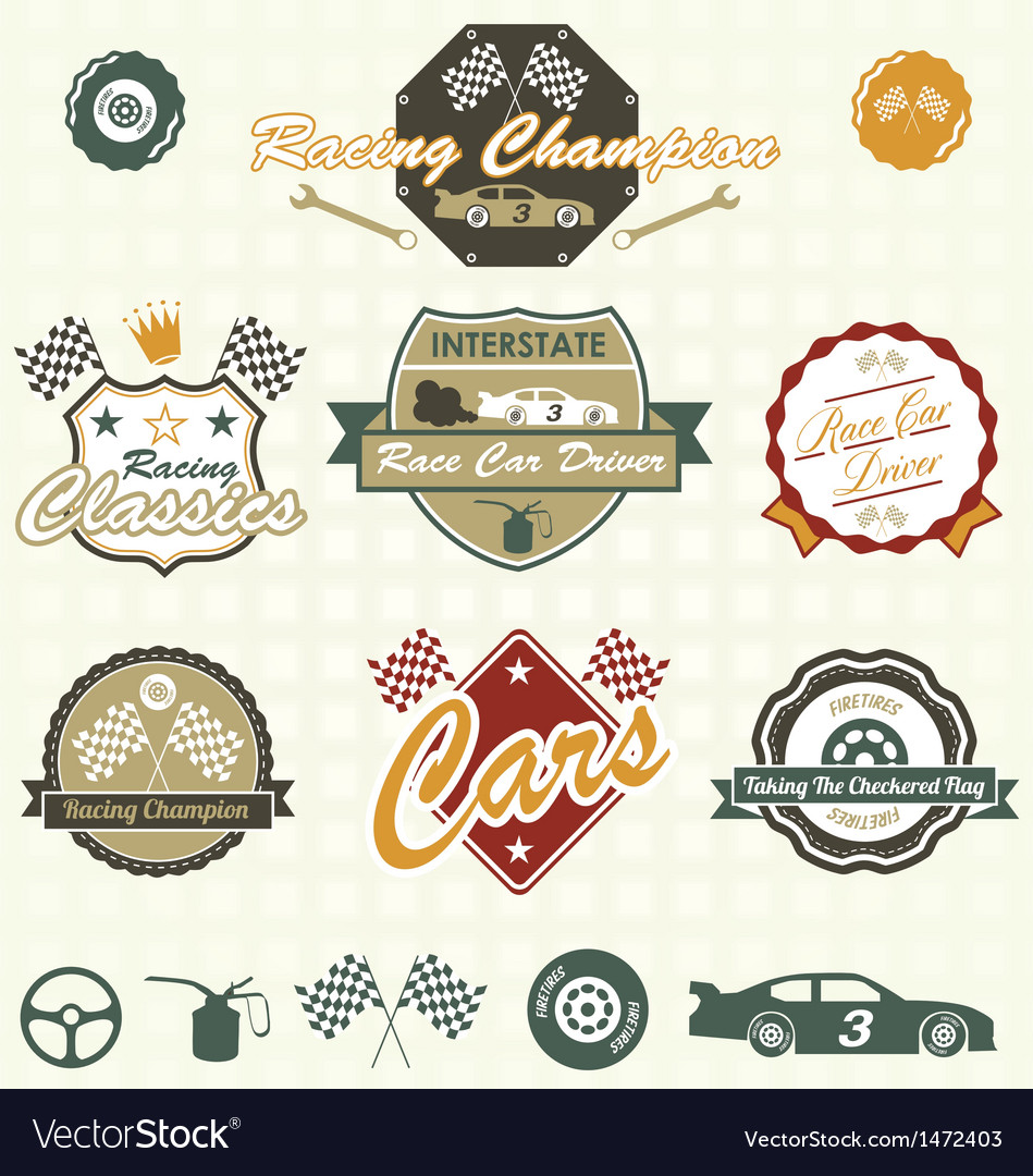 Retro car racing labels vector | Price: 3 Credit (USD $3)