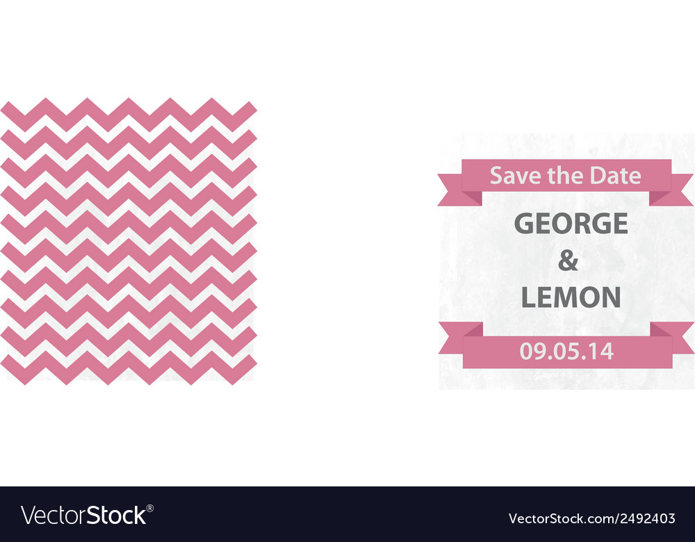 Save the date pink chevron with banner vector | Price: 1 Credit (USD $1)