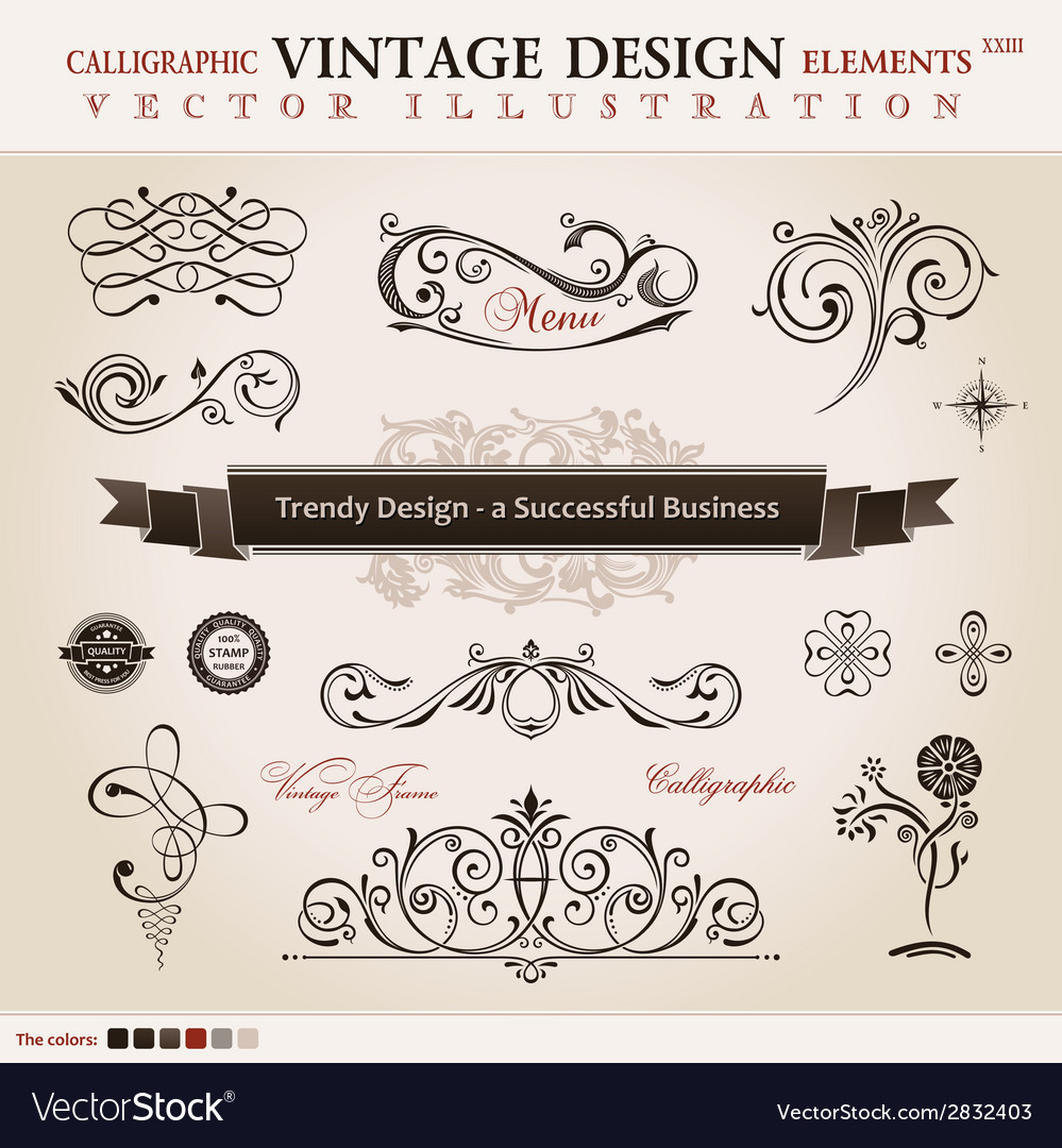 Set classic calligraphic design elements and book vector | Price: 1 Credit (USD $1)