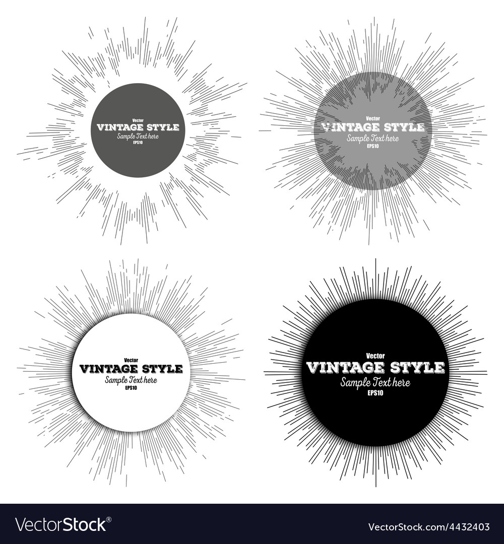 Set of vintage style star burst retro elements vector | Price: 1 Credit (USD $1)