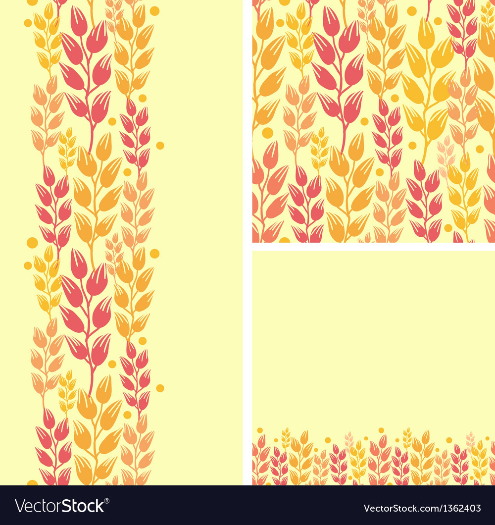 Set of wheat plants seamless pattern and borders vector | Price: 1 Credit (USD $1)