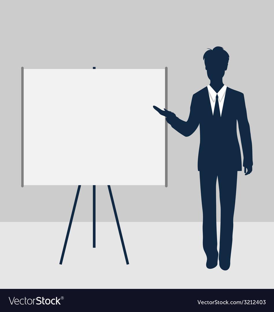Trainer stand near whiteboard presentation demo vector | Price: 1 Credit (USD $1)