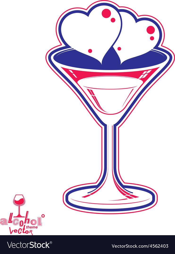 Valentines day martini glass vector | Price: 1 Credit (USD $1)