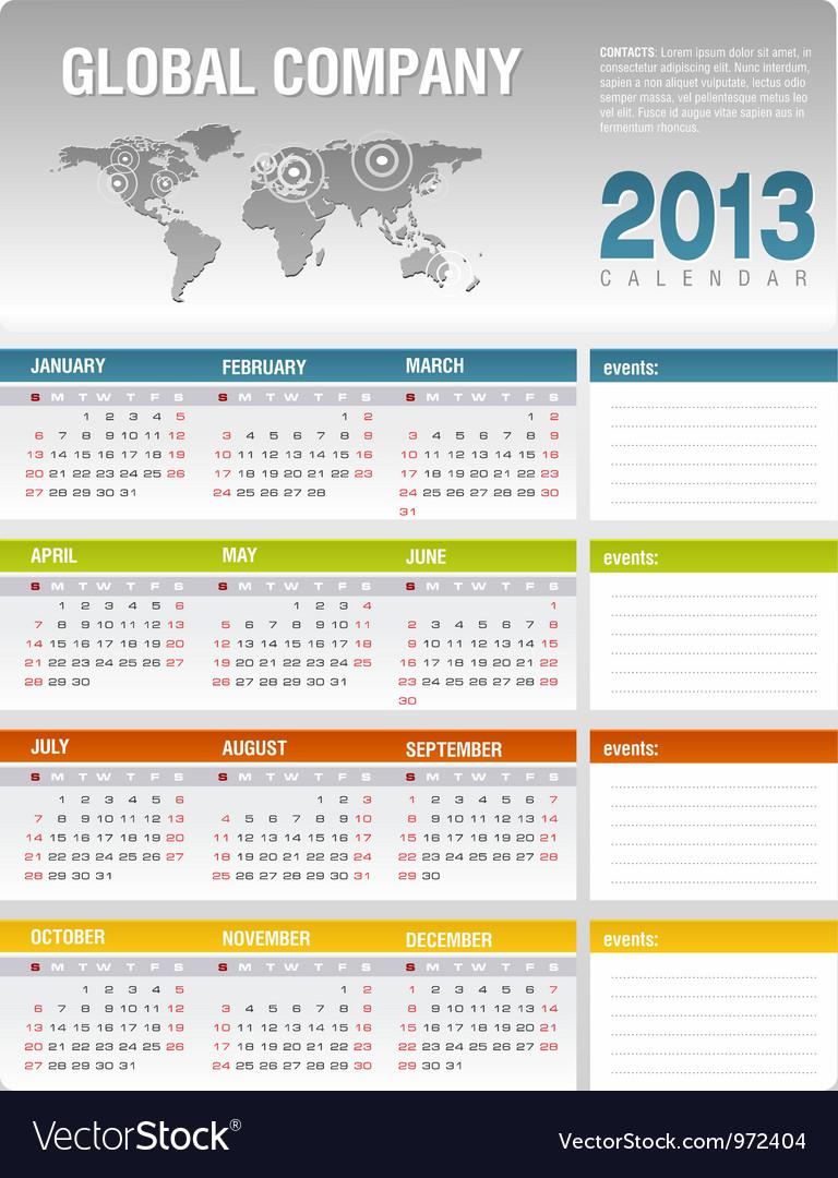 2013 corporate calendar template vector | Price: 1 Credit (USD $1)