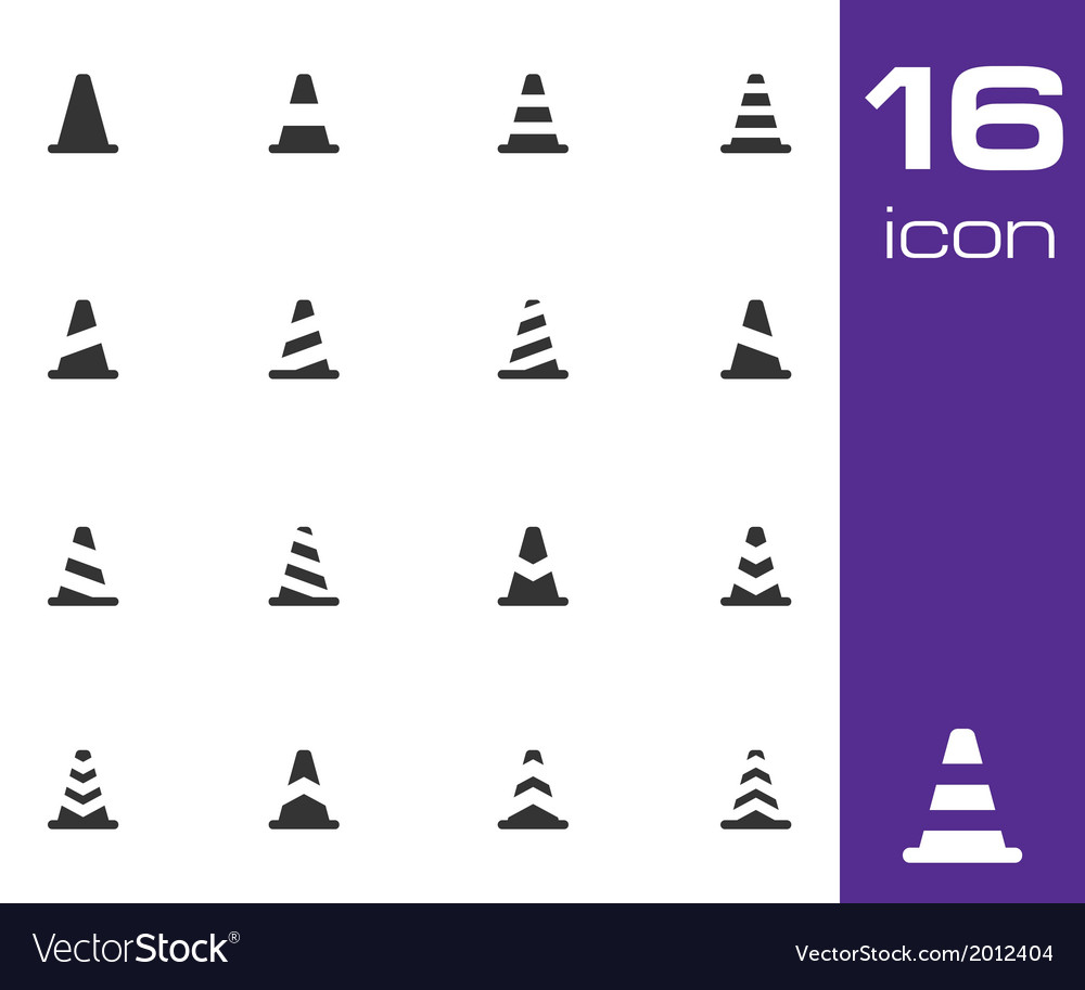 Black traffic cone icons set vector | Price: 1 Credit (USD $1)