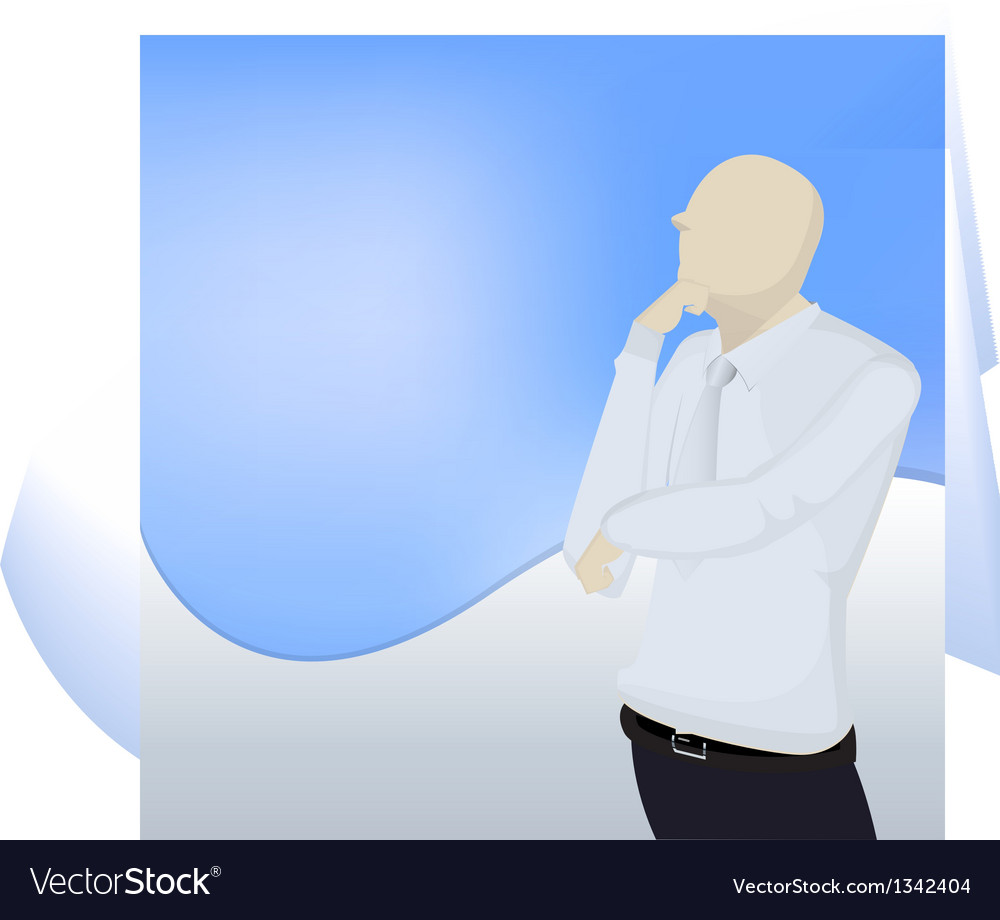 Business man thinking vector | Price: 1 Credit (USD $1)