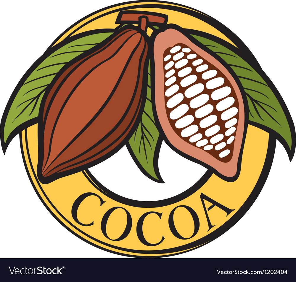 Cacao - cocoa beans label vector | Price: 1 Credit (USD $1)