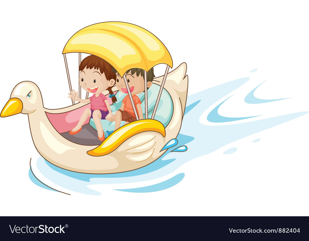 Children in boat vector | Price: 5 Credit (USD $5)