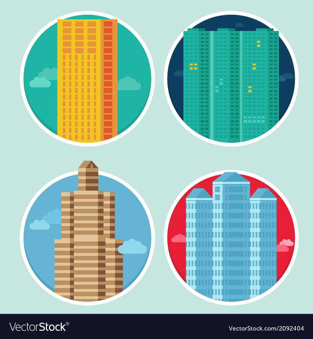City icons in flat style on round emblems - houses vector | Price: 1 Credit (USD $1)