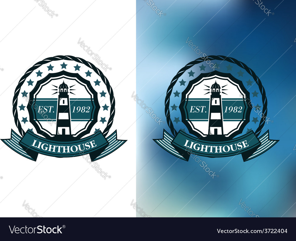 Lighthouse marine round emblem or badge vector | Price: 1 Credit (USD $1)