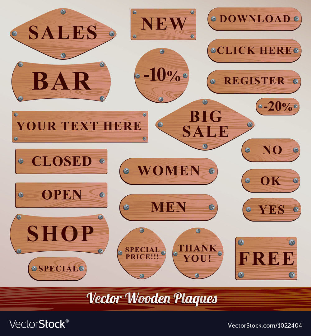 Set wooden plaque vector | Price: 1 Credit (USD $1)