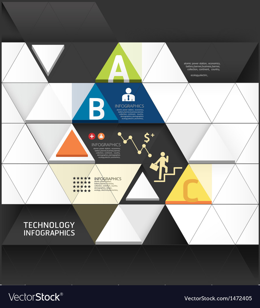 Abstract infographic design minimal triangle shape vector | Price: 1 Credit (USD $1)
