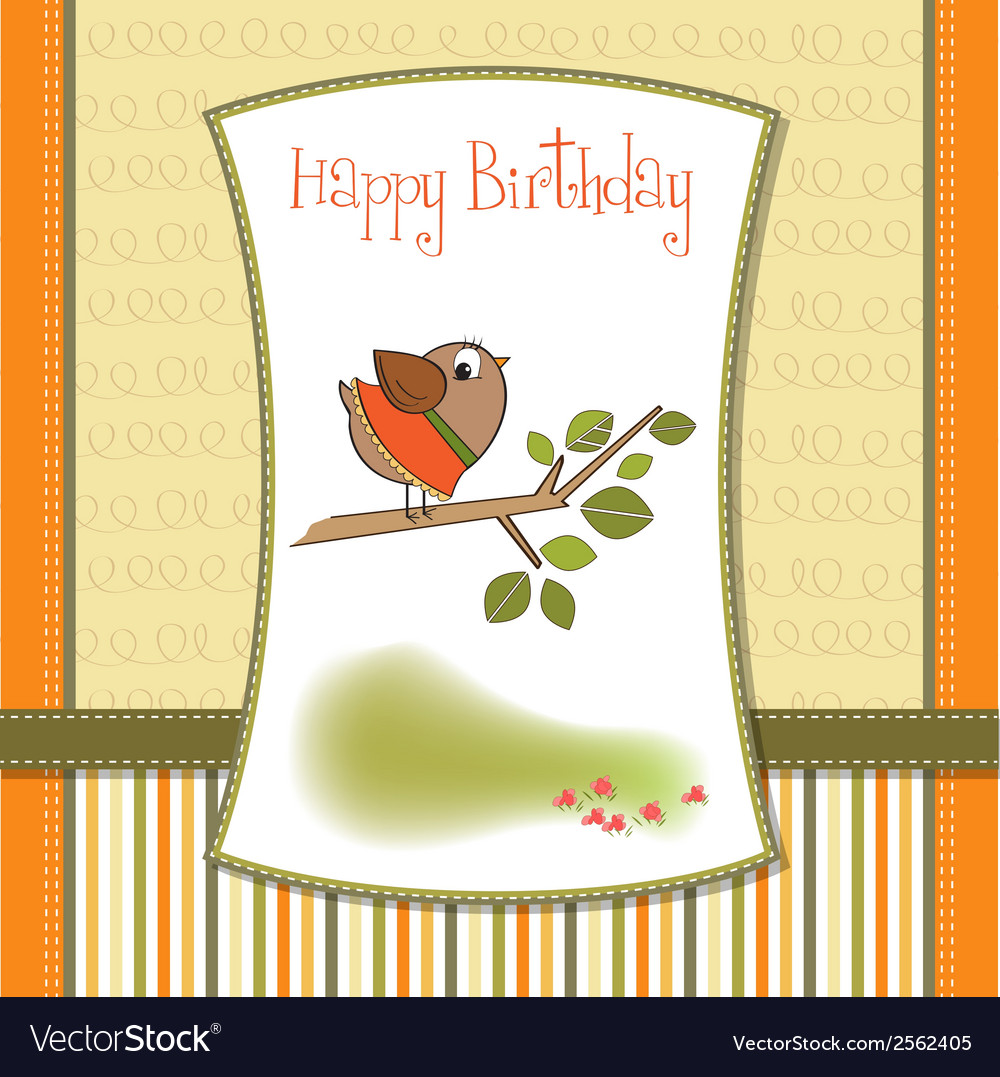 Birthday greeting card with funny little bird vector | Price: 1 Credit (USD $1)