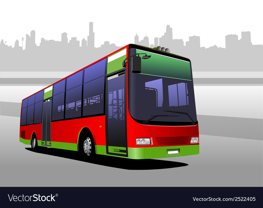 Bus on the road vector   Price: 1 Credit (USD $1)