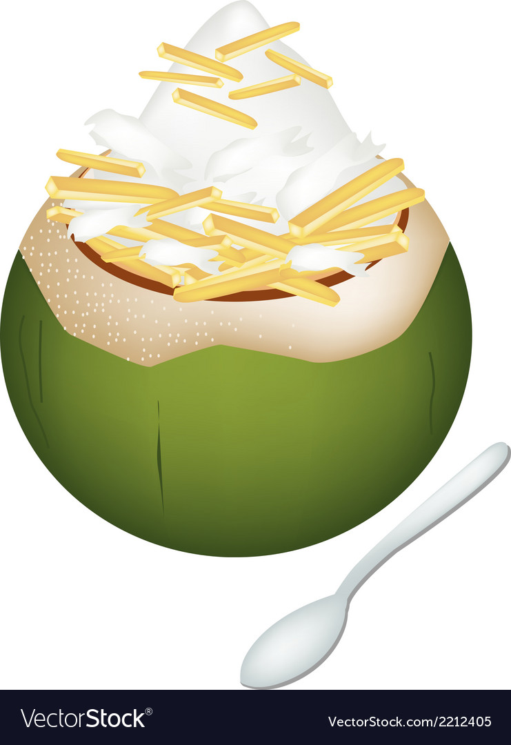 Coconut ice cream with jackfruits vector | Price: 1 Credit (USD $1)
