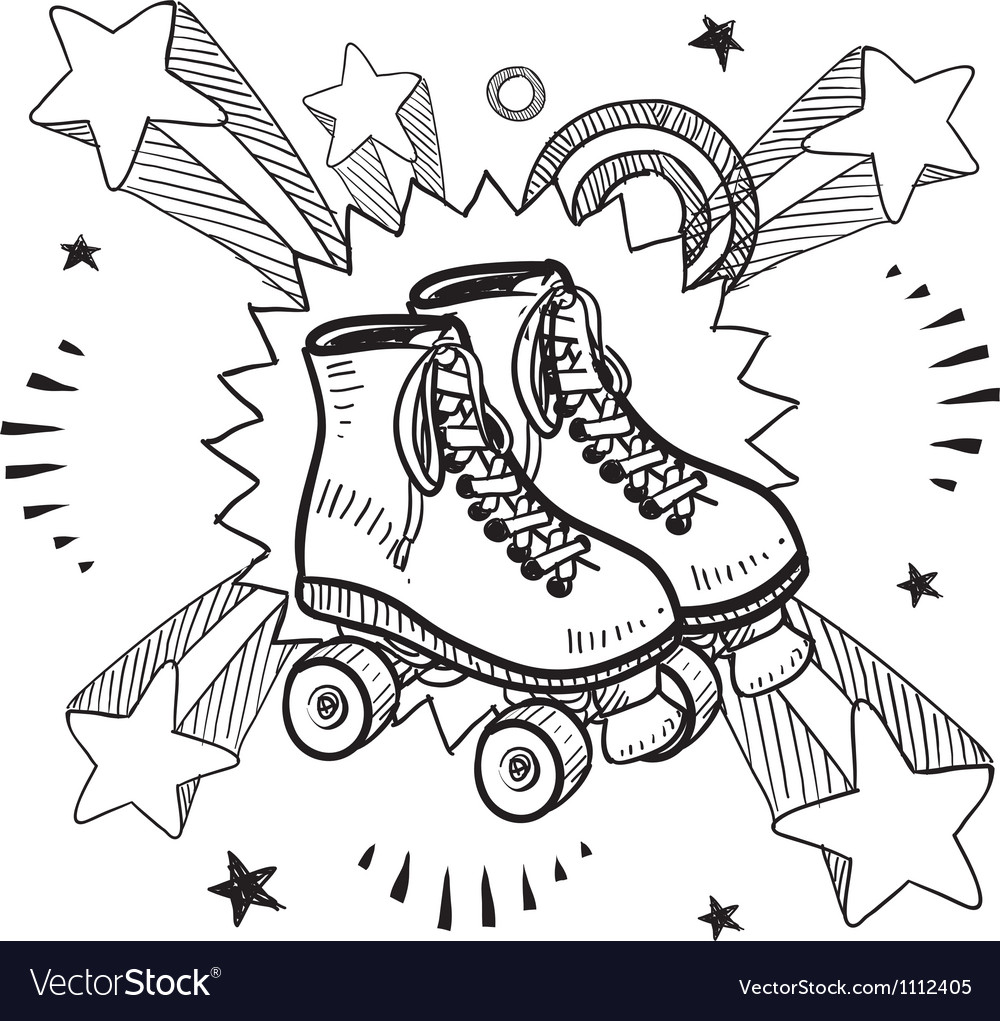 Doodle pop rollerskates vector | Price: 1 Credit (USD $1)