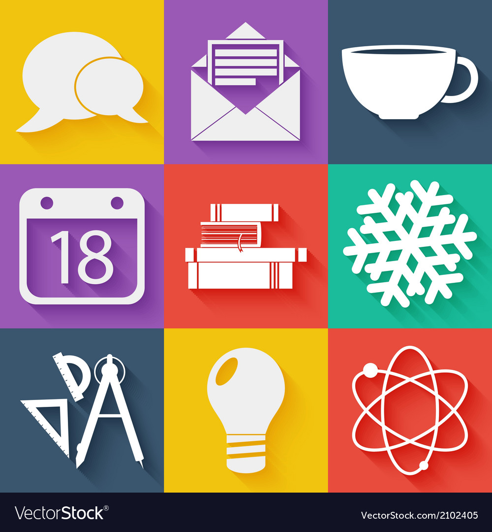 Flat white business and education icons set vector | Price: 1 Credit (USD $1)