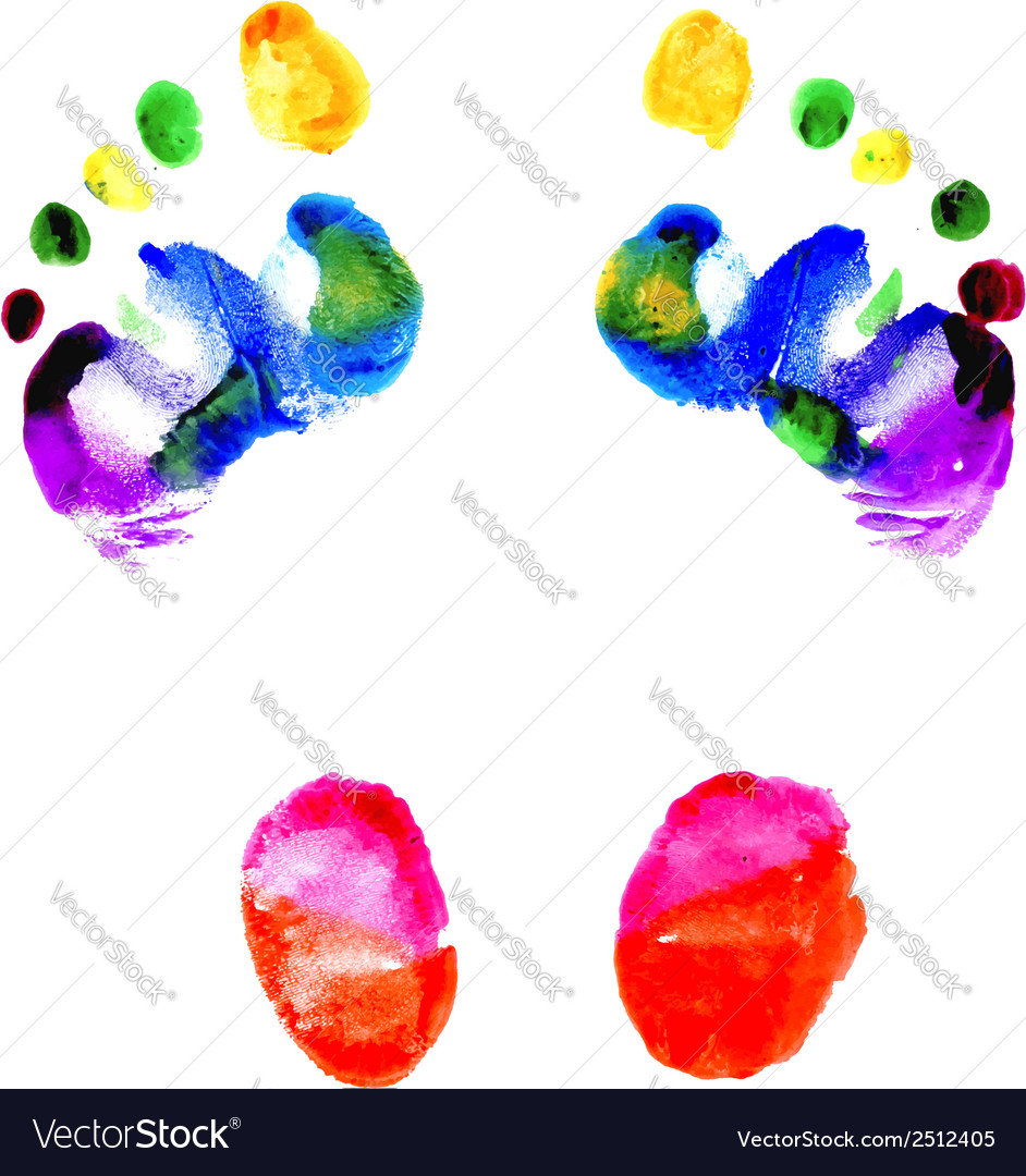 Footprints of feet painted in various colors vector   Price: 1 Credit (USD $1)