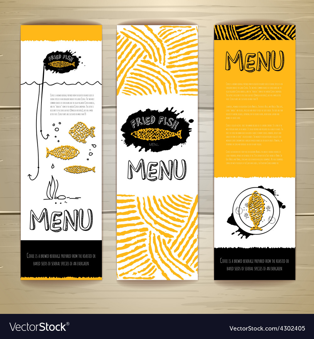 Fried fish restaurant menu concept design vector | Price: 1 Credit (USD $1)