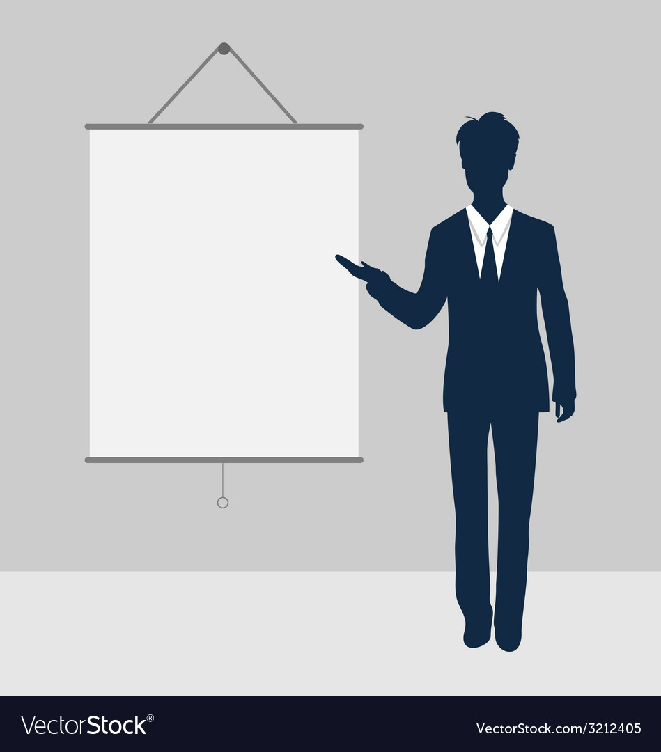 Manager stand near blank board presentation vector | Price: 1 Credit (USD $1)